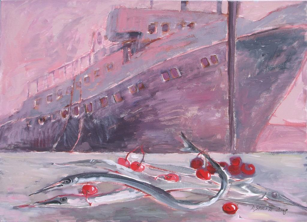 Klusā daba ar rozā kuģi